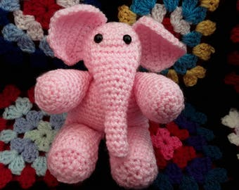 Crochet Elephant, Soft Toy, Plush, Amigurumi, Pippa the Pink Elephant