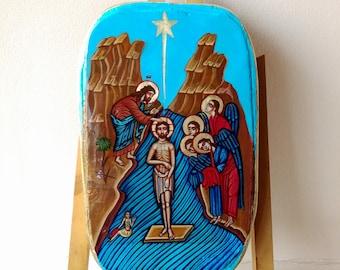 Baptism of Jesus, Christ's Christening, Original Handpainted Icon
