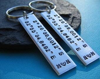 Custom Coordinates Keychains, Coordinate Couples Set, Coordinates Key Chain, GPS Latitude Longitude, Boyfriend, Girlfriend, Custom Gift Set