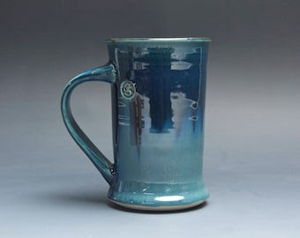 Pottery coffee mug, ceramic mug, stoneware tea cup deep blue 12 oz 4027