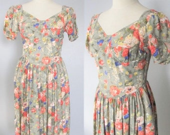 50% OFF SALE Vintage Cotton Floral Day Dress / 80's 90's Garden Tea Party Dress Victorian Rose Sundress / Woman's Size Medium