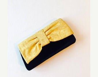 50% OFF SALE Vintage 1950's Black and Gold Prom Clutch / Formal Black Velvet Gold Brocade Evening Bag