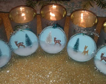 Vintage Style Victorian Mason Jar Lid Christmas Ornaments Set of 5