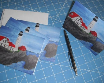 Original Art Portland Headlight in Maine on Blank Note Cards / Note Cards / Blank Cards /  Set of Four Cards