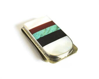 Vintage Money Clip With Stone Inlay c.1960s