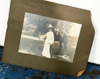 Antique Photograph Lady Horse Riding Vintage Photo