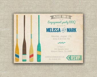 vintage beach or pool party invitation, printable invitation, pool party invitation, rowing, vintage aquatic theme, hawaii, aloha, luau