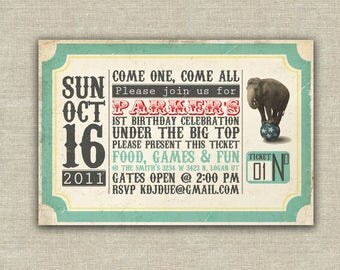 Circus birthday party invitation, carnival party invitation, elephant, kids birthday circus theme