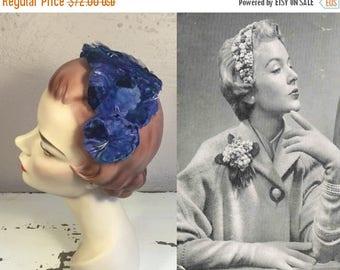 BI-ANNUAL SALE Her Royal Blue Wedding - Vintage 1950s Royal Cobalt Blue Velvet Floral Fascinator Half Hat Bandeau