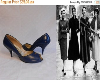 Anniversary Sale 35% Off Strength in Numbers - Vintage 1950s Navy Leather Open Toe Pin Up Pumps Heels Shoes - 7/7.5