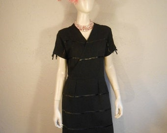 Anniversary Sale 35% Off My Tuxedo Nights - Vintage 1950s R & K Black Rayon Tuxedo Stripe Dress - 2/4