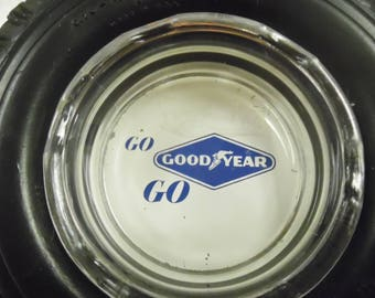 Good Year tire ash tray, vintage tire ashtray, vintage rubber advertising ash tray, service station ashtry, Good year ash tray