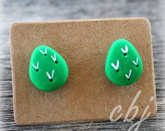 Nopal Earrings, Nopal Post Earrings, Nopal Polymer Clay Earrings, Stainless Steel