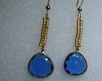 Iolite Quartz and 24 K Gold Plated Glass Bead Earrings