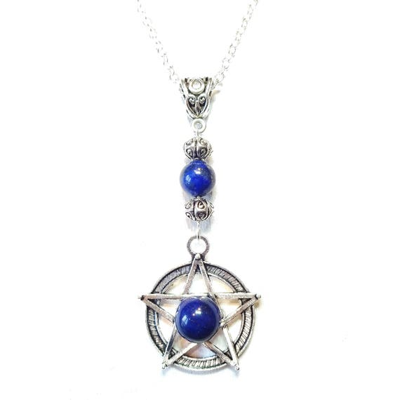 Gothic Pentagram Pendant with Gemstone Blue Lapis Lazuli