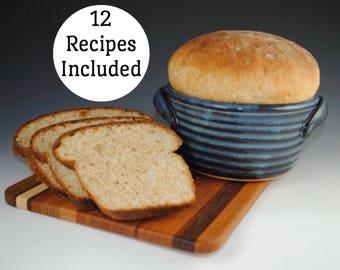 Bread Baker, 12 RECIPES Included - Bread Baking Pot, Denim Blue Glaze - As Seen In Midwest Living Magazine, Handmade Bread Pan