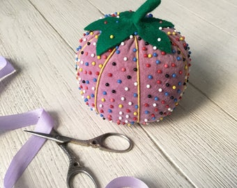 Vintage Pin Cushion Purple Velvet Tomato Large Pincushion