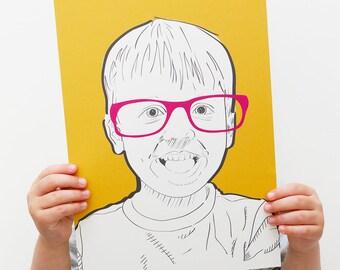 Modern Children's Portrait | Personalised Gift | Custom Portrait | Kids Portrait | Pop Art Style | Colourful Hand Drawn Print | A4