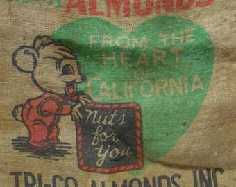 Antique burlap Gunny Sack bag Tri-Co Shelled Almonds CA Cute animal graphics Nuts 100 lb Barn Salvage Primitive supplies