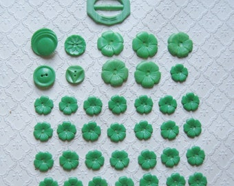 Mixed Lot of 38 Jadite Green Plastic Buttons, Belt Buckle