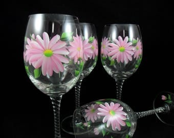 Wine Glasses Pink Daisy Flowers Hand Painted Daisies - Set of 4