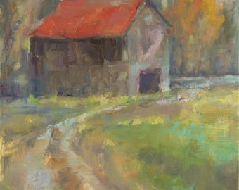 Abstract Old Barn, Plein Air, Charlotte, Nashville, Tennessee, Fall Landscape Painting, Farm Scene, Original Oil, Farmhouse Decor, Original