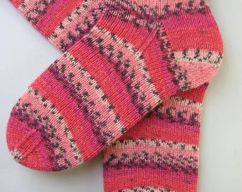 socks, hand knitted womens wool socks, UK 6-8 US 8-10, ladies socks, pink patterned socks, knitted socks, gift for women, pink striped socks