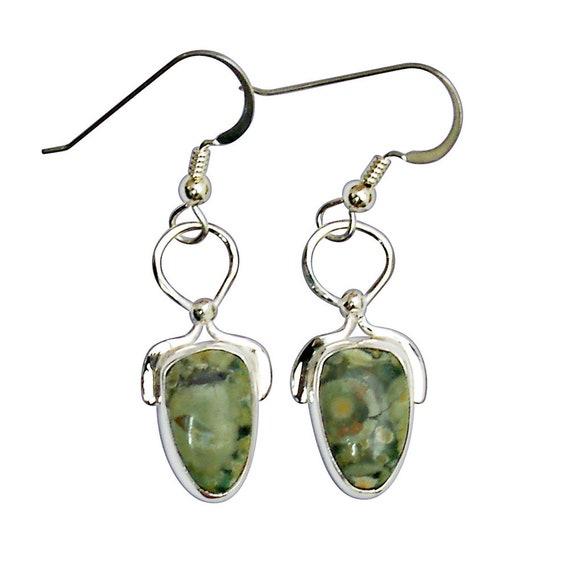 Earrings, Rainforest Jasper Dangle Earrings Set in Sterling Silver  erfje2963