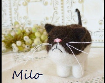 Needle felted cat black and white hand made wool toy collectible Milo fiber art sculpture