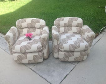 MID CENTURY MODERN Style Swivel Chairs / Pair of Barrel Shaped Swivel Club Chairs / Pair of Swivel Chairs at Retro Daisy Girl