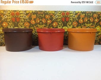 FINAL 50% OFF Vintage Tupperware Set 3 Storage Containers Stackable 263 Orange Brown Campervan Accessories