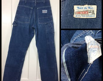 1970s Carter's Denim Carpenter Painters Pants size 29x34, measures 27x31 Workwear Union Made selvedge faded indigo blue jeans