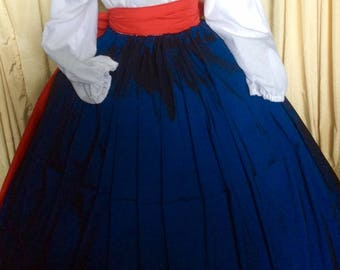 Moda Isabella NEW! Ready to ship taffeta flag colors patriotic Civil War Victoria 4th July Pioneer Tall Skirt & Sash fit All