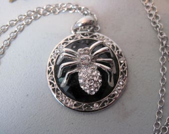 Vintage Rhinestone Spider Necklace and Pin