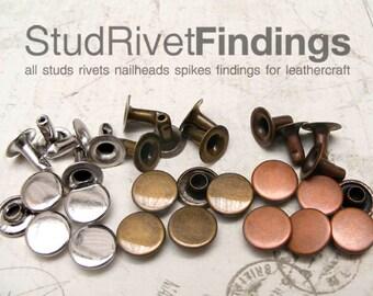 100sets 7mm antique copper FLAT Round Rapid Rivet Stud