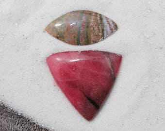 Rhodonite Cabochon and/or ocean jasper cab - raspberry with bits of black triangle, trillion pendant focal natural stone for jewelry making
