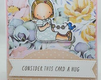 Card Hug Summertime MFT Pure innoncence PI Blank NoteCard, Greetings Card, Handmade Card