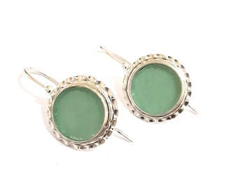 925 Silver Roman Glass  Hammered Earrings