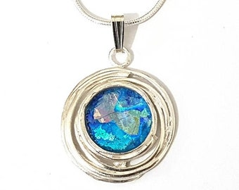 Amazing 925 Silver Bluish  Roman Glass Pendant Necklace