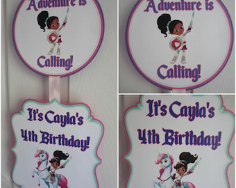 Nella the Princess Knight Party Door Sign
