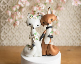 Fox Wedding Cake Topper - Red Fox and Arctic Fox by Bonjour Poupette