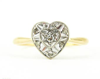 Heart Diamond Engagement Ring, Vintage Art Deco Love Heart Shaped Diamond Ring, 18ct Gold.