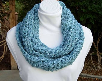 Light Blue INFINITY SCARF, Soft Chunky Cowl, Blue Loop Scarf, Women's Winter Crochet Knit Circle Thick Aqua Scarf..Ready to Ship in 2 Days