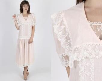 Gunne Sax Dress Boho Dress Boho Wedding Dress 80s Dress Pink Dress Vintage Dress Jessica McClintock Dress Deco Floral Lace Midi Maxi Dress M
