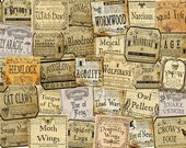 Forty dollhouse witch bottle labels for potions, herbs and poisons, 1/12