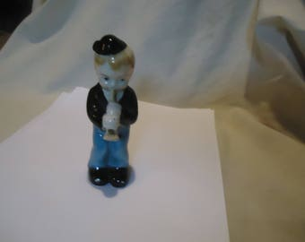 Vintage Occupied Japan Porcelain Figurine Young Boy Playing Instrument, collectable
