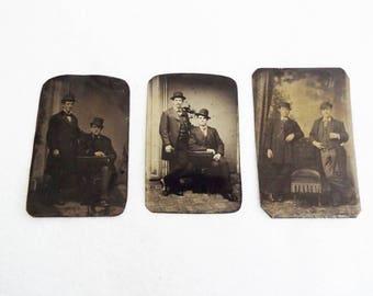 Antique Tintype Photographs Men Wearing Hats- Lot of 3