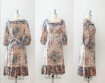 Vintage 1970's Blue Cabbage Rose Print Dress