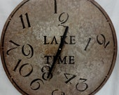 18 Inch LAKE TIME CLOCK in Muted  Shades of Tan and Cream with Jumbled Numbers