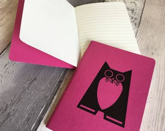 Cat Notebook - small lined journal in pink featuring Maggie the cat - hand-printed, hand-stitched
